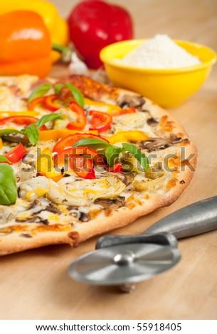 Vegetarian Pizza with Fresh Basil - stock photo