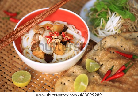 Vegetarian Quang style noodle (Quang style noodle: Vietnamese noodle dish that originated from Quang Nam Province in central Vietnam)