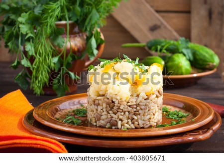 Vegetarian risotto with lentils, horizontal