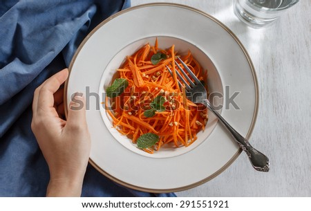 Vegetarian salad made from grated carrots with peanut, healthy food project, good food for life - stock photo