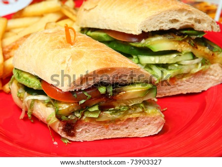 Vegetarian Sandwiches on a Red Plate - stock photo