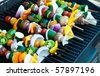 Vegetarian Shish Kebabs on a Grill - stock photo