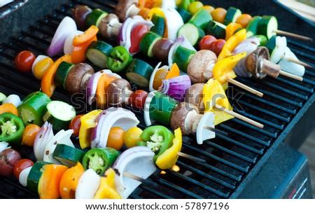 Vegetarian Shish Kebabs on a Grill - stock photo