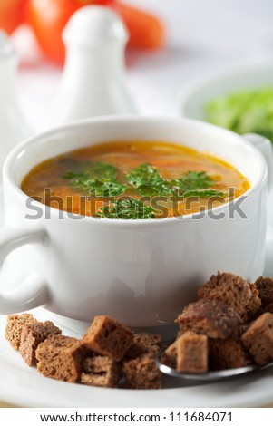 Vegetarian Soup with Vegetables and Dried Crust