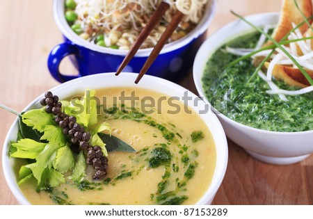 Vegetarian soups  - stock photo