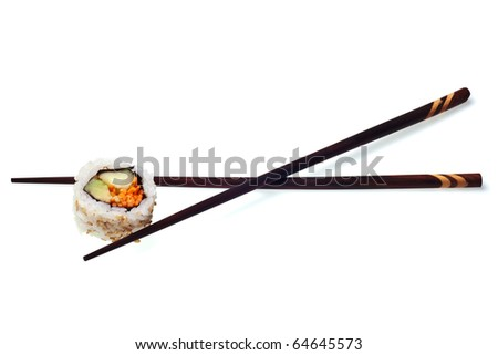 Vegetarian sushi California roll with rice and seaweed isolated on white background with drop shadow - stock photo