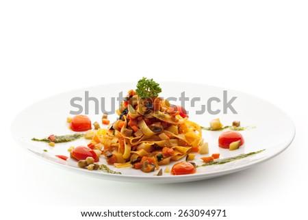 Vegetarian Tagliatelle with Cherry Tomato and Pesto Sauce - stock photo