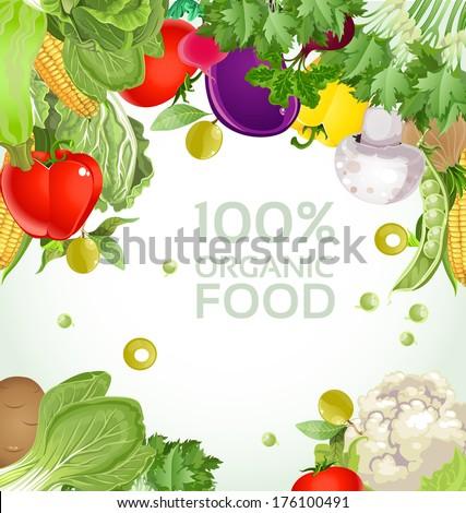 Vegetarian vegetable 100% organic food background - stock photo