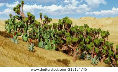 Vegetation on a desert  - stock photo