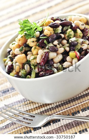 Vegeterian salad of various beans in bowl close up - stock photo