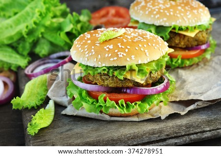 Veggie burger with chickpeas patty - stock photo