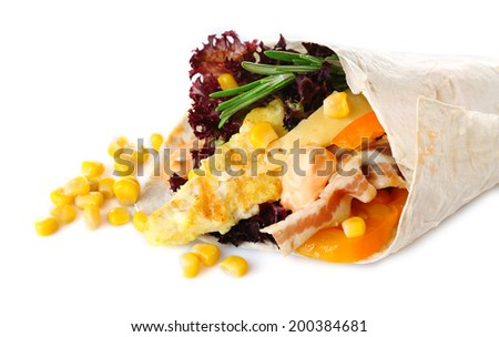 Veggie wrap filled with chicken and fresh vegetables isolated on white - stock photo
