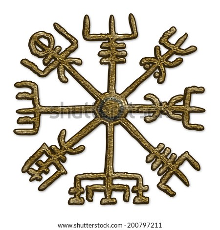 Vegvisir - Icelandic Magical Stave - Protection Symbol - stock photo