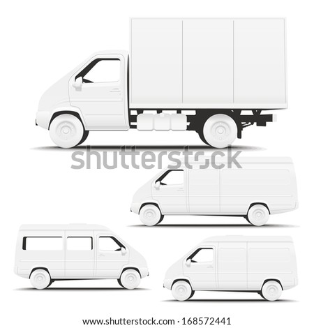 Vehicle Commercial. Illustration of types of commercial vehicles side for applying corporate identity. - stock photo