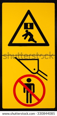 Vehicle danger warning label. Hazard warning sign. - stock photo