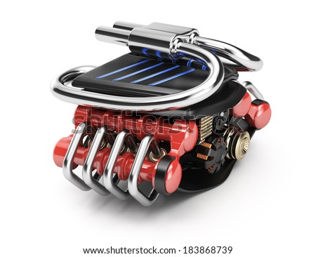 Vehicle engine isolated on white background. 3d rendering illustration - stock photo