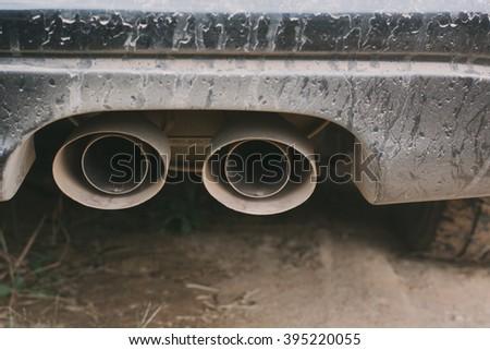 Vehicle exhaust - stock photo