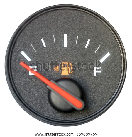 Vehicle fuel gauge on empty. Isolated in white - stock photo