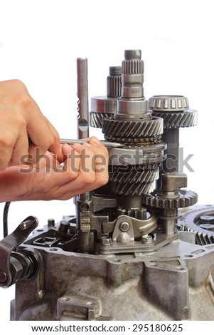 vehicle gearbox service on isolated background