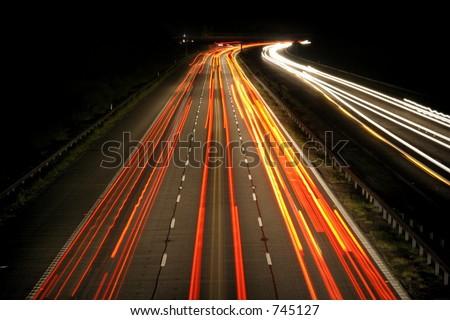 vehicle lights at night - stock photo