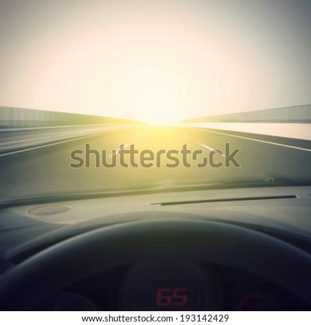 Vehicle speed highway Dashboard - stock photo