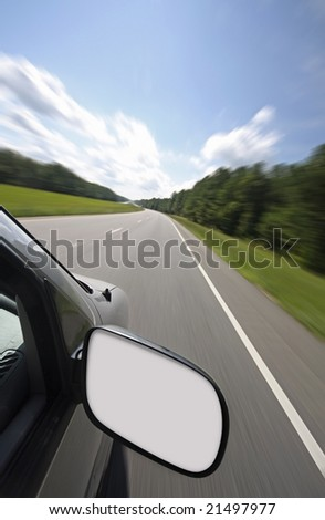 Vehicle with blank rear view mirror for your text or graphics
