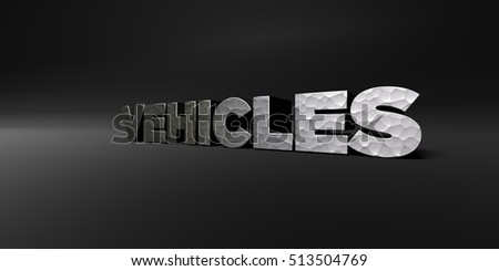 VEHICLES - hammered metal finish text on black studio - 3D rendered royalty free stock photo. This image can be used for an online website banner ad or a print postcard.