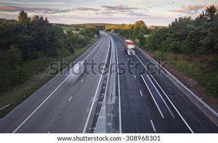 Vehicles In Motion on British Motorway M54 - stock photo
