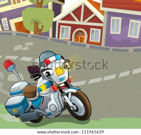 Vehicles on the road - illustration for the children 3 - stock photo