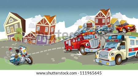 Vehicles on the road - illustration for the children 8 - stock photo