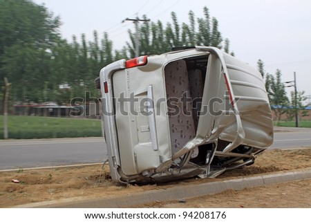 vehicular accident in the road, close up of pictures, Luannan County, Hebei Province, China. - stock photo