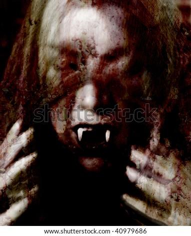 veiled female vampire - stock photo