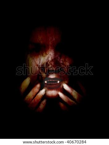 veiled female vampire emerging from the darkness - stock photo