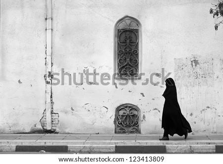 Veiled passenger, Tehran, Iran - stock photo