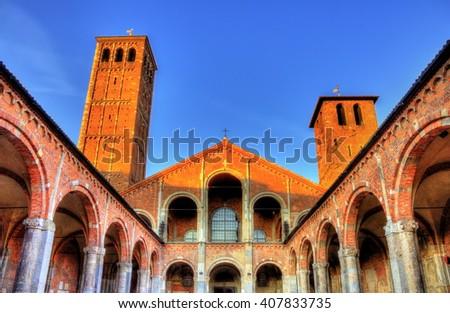 Veiw of the Basilica di Sant'Ambrogio in Milan - stock photo