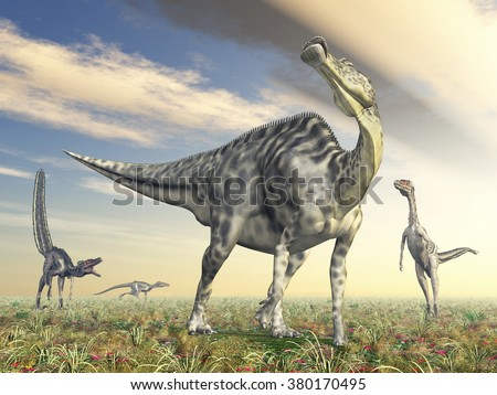 Velafrons and Velociraptor Computer generated 3D illustration - stock photo