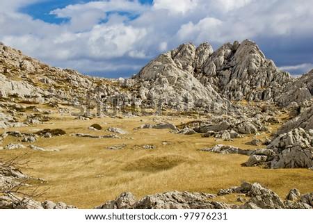 Velebit mountain landscape near Tulove Grede, Croati, Dalmatia - stock photo