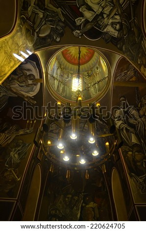VELIKO TARNOVO, BULGARIA, AUGUST 9, 2014: View over the interior of the chapel situated on the top of tsarevets fortress in veliko tarnovo, bulgaria.