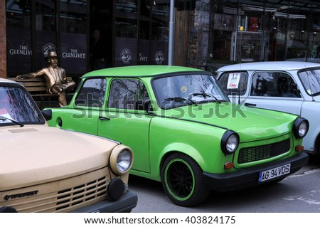 VELIKO TARNOVO, BULGARIA - MARCH 19, 2016: East German Trabant cars in the street of the city during Trabant Fest event - stock photo