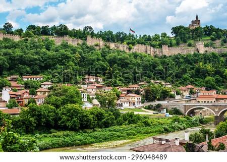 Veliko Tarnovo, the historical capital of Bulgaria. Beautiful touristic destination in Eastern and Central Europe. - stock photo