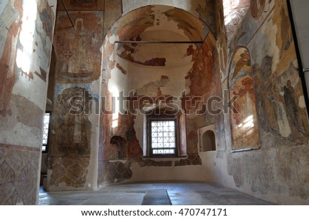 VELIKY NOVGOROD, RUSSIA-AUGUST 12, 2016. Decorative architecture elements and paintings with Bible scenes in the interior of cathedral of Our Lady of the Sign in Veliky Novgorod, Russia.
