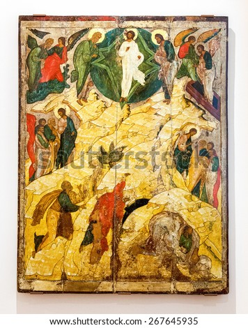 VELIKY  NOVGOROD, RUSSIA - JULY 24, 2014: Antique Russian orthodox icon The Transfiguration painted on wooden board - stock photo
