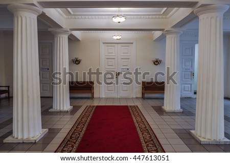 VELIKY NOVGOROD,RUSSIA-JULY 1, 2016. Entrance hall with columns in the interior of the Art Museum of Veliky Novgorod
