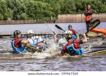 VELIKY NOVGOROD, RUSSIA -  June 13: Russian Cup stage (polo canoe) on the Volkhov River in Veliky Novgorod on June 13, 2014.