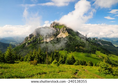 Velky Rozsutec peak in Mala Fatra during fresh summer, rocky summit almost like in Dolomites - stock photo