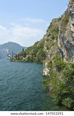 Vello (Bs),Italy, Iseo Lake, a view of the lake, with the coastline overlooking the lake