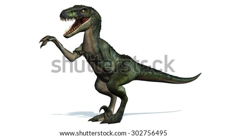 velociraptor dinosaur attack - isolated on white background - stock photo