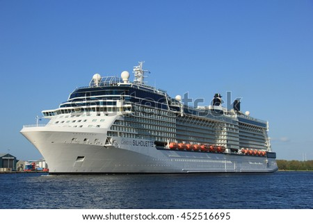 Velsen, The Netherlands - May 16, 2015: Celebrity Silhouette is a Solstice-class cruise ship, owned and operated by Celebrity Cruises, built by Meyer Werft, Papenburg.