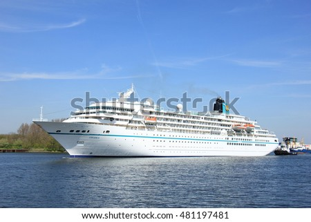 Velsen, the Netherlands - May, 6th 2016: MS Amadea in North Sea Canal. Amadea is a cruise ship owned by Amadea Shipping Company, operated by  Phoenix Reisen, built in 1991 in Nagasaki, Japan