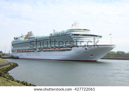 Velsen, The Netherlands - May 22, 2015: Ventura is a Grand-class cruise ship, owned and operated by P&O Cruises, built by Fincantieri, Monfalcone, Italy. It is 291.4 m (956 ft) long